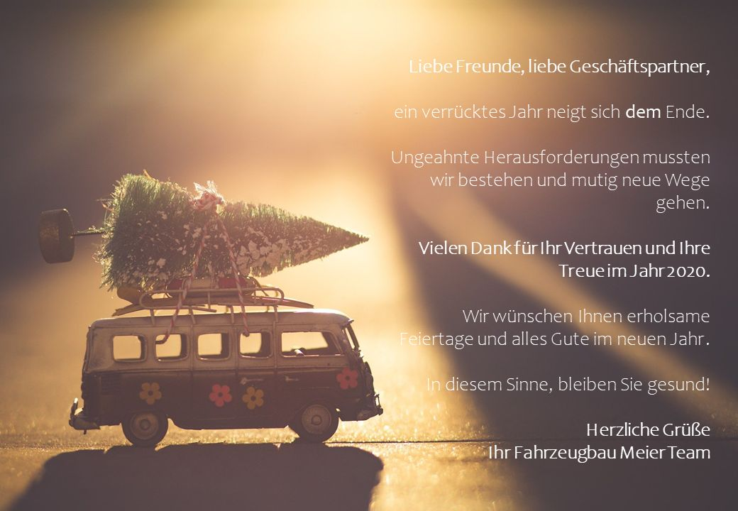 Weihnachtsgruß 2020 von Fahrzeugbau Meier